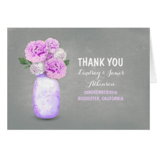 Cute purple painted mason jar thank you cards