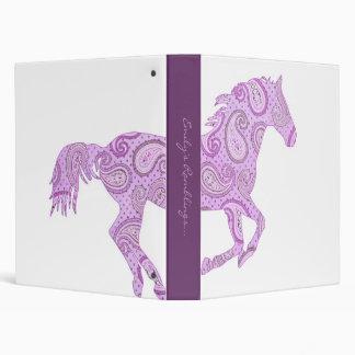 Cute Purple Paisley Horse 3 Ring Binders