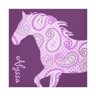 Cute Purple Paisley Horse Canvas Print