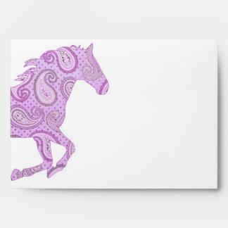 Cute Purple Paisley Horse Envelope