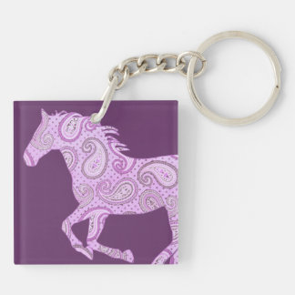 Cute Purple Paisley Horse Double-Sided Square Acrylic Keychain