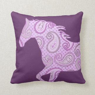 Cute Purple Paisley Horse Pillow