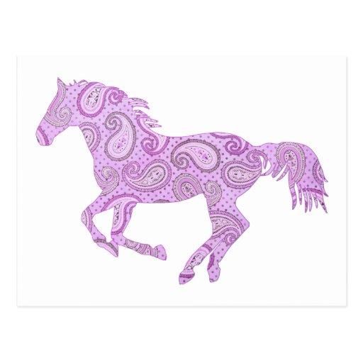 Cute Purple Paisley Horse Postcard