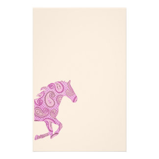 Cute Purple Paisley Horse Customized Stationery