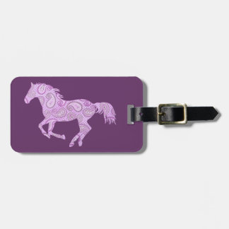 Cute Purple Paisley Horse Tags For Bags