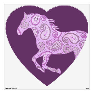 Cute Purple Paisley Horse Wall Sticker