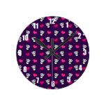Cute purple panda hearts pattern wall clocks