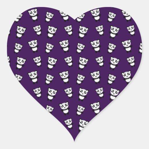 Cute purple panda pattern heart sticker