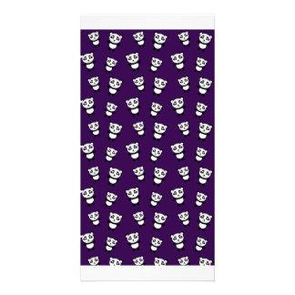 Cute purple panda pattern photo greeting card