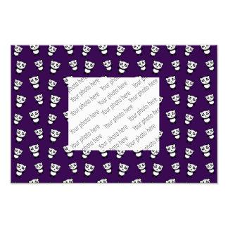 Cute purple panda pattern photographic print