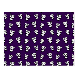 Cute purple panda pattern postcard