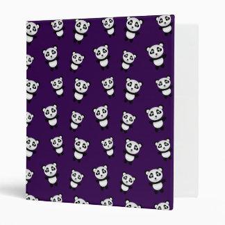 Cute purple panda pattern vinyl binder