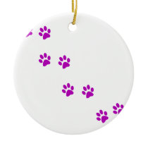 cute purple pawprints ceramic ornament