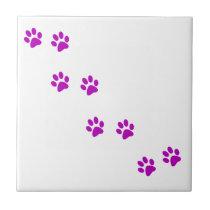 cute purple pawprints tile