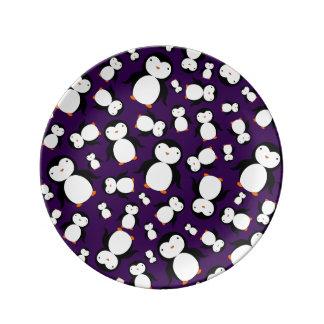 Cute purple penguin pattern porcelain plate