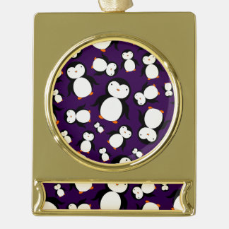 Cute purple penguin pattern gold plated banner ornament