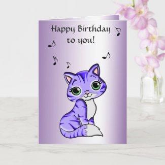 Cute Purple Pet Kitty Cat Birthday Card