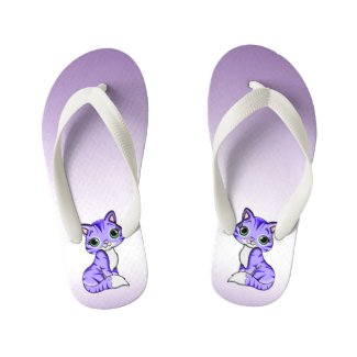 Cute Purple Pet Kitty Cat Kids Flip Flops