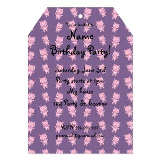 Cute purple pig pattern 5x7 paper invitation card