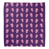 Cute purple pig pattern bandana