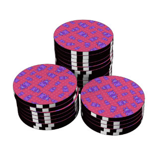 Cute purple pig pink polka dots set of poker chips
