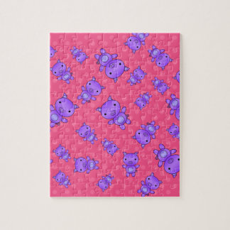 Cute purple pig pink polka dots puzzle