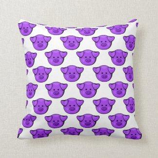 Cute Purple Pigs Throw Pillow