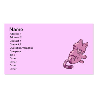 CUTE PURPLE PINK CAT CARTOON HAPPY FUN GRAPHICS IC BUSINESS CARD TEMPLATE