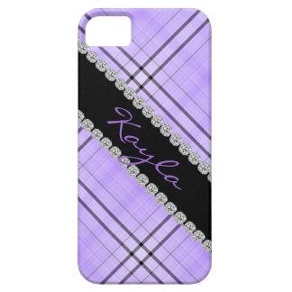 CUTE PURPLE PLAID & RHINESTONE  I phone 5 COVER iPhone 5 Covers