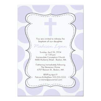 Cute Purple Polka Dots Cross Baptism Invitation