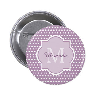 Cute Purple Polka Dots Girly Monogram and Name 2 Inch Round Button