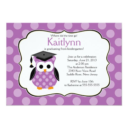 Cute Purple Polka dots Grad Owl Girl Graduation Card