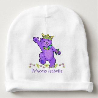 Cute Purple Princess Teddy Bear and Flowers Custom Baby Beanie