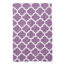 cute purple quatrefoil towels