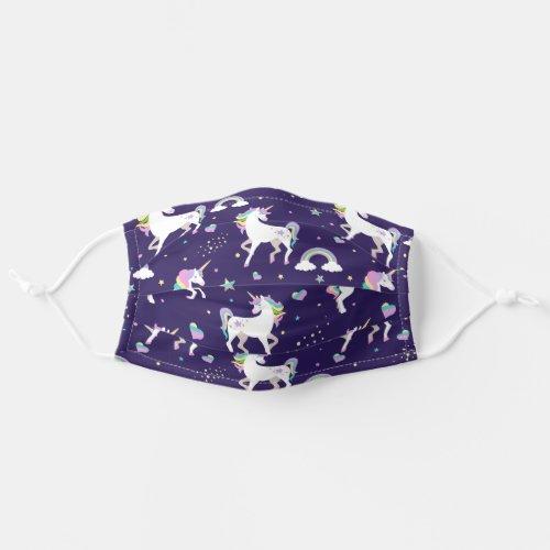 Cute Purple Rainbow Hearts And Stars Unicorn Cloth Face Mask