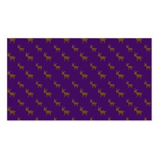 Cute purple reindeer pattern business card templates