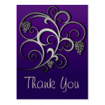 Cute Purple Retro Grapevine & Floral Post Card