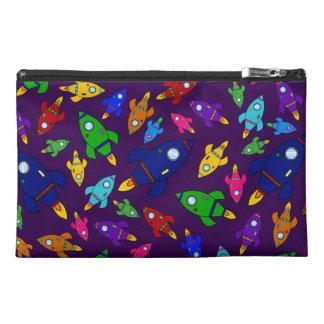 Cute purple rocket ships pattern travel accessory bag