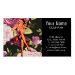cute purple rose pin up girl vintage fashion business card