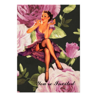 cute purple rose pin up girl vintage fashion custom invites