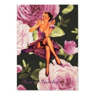 cute purple rose pin up girl vintage fashion card