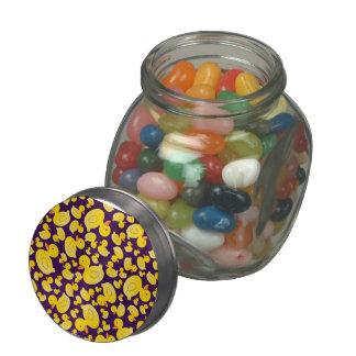 Cute purple rubber ducks glass jars