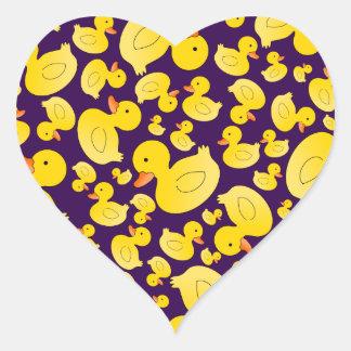 Cute purple rubber ducks heart sticker