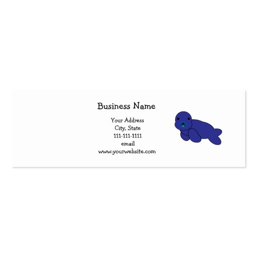 Cute purple seal Double-Sided mini business cards (Pack of 20)