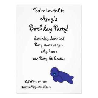 Cute purple seal invitations