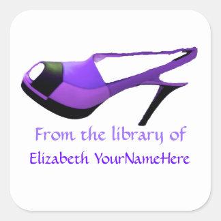 Cute Purple Shoe This Book Belongs to Square Sticker