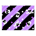 Cute Purple Skull and Heart Print Post Cards