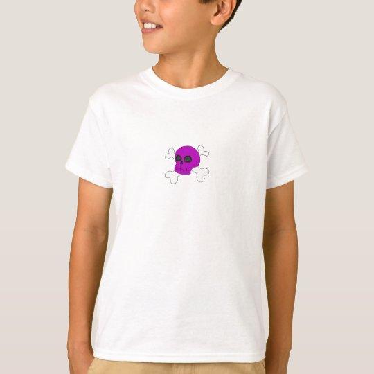Cute purple skull & cross bones girls t-shirt