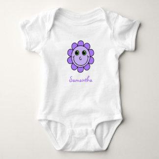 Cute Purple Smiley Face Flower Monogram Baby Bodysuit