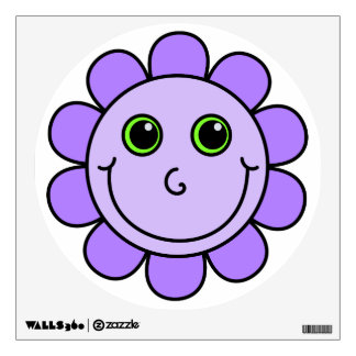 Cute Purple Smiley Face Flower Wall Decal